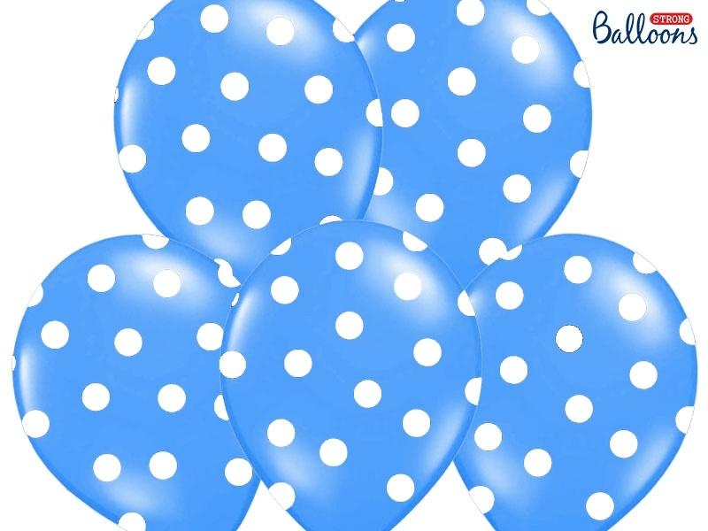 9b2e177adf7 Balónky pastelové tmavě modré - bílé puntíky - 50 ks - Párty-výzdoba.cz