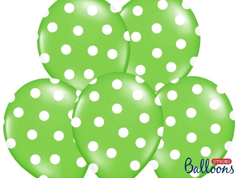 cd3a17b756c Balónky pastelové zelené - bílé puntíky - 50 ks - Párty-výzdoba.cz