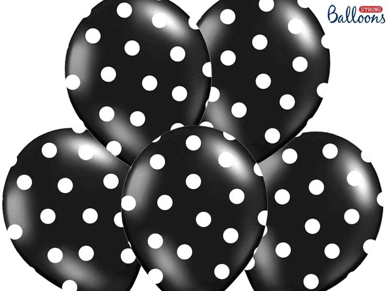 238f1c50e80 Balónky pastelové černé - bílé puntíky - 50 ks - Párty-výzdoba.cz